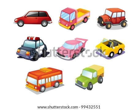 Illustration of cars isolated on white
