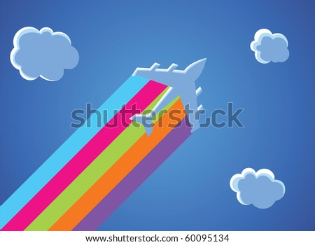 Illustration of cartoon airplane with the rainbow