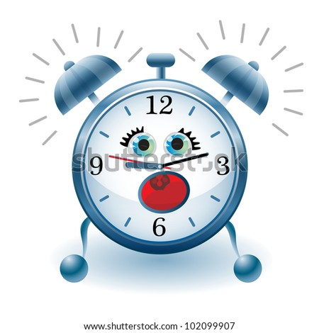 illustration of Cartoon alarm clock on  white background