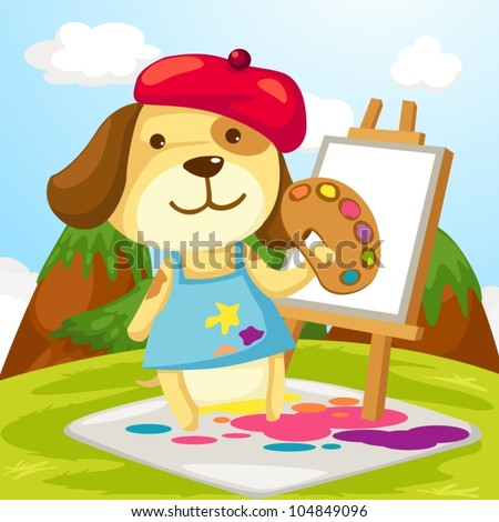 illustration of cartoon artist dog painting