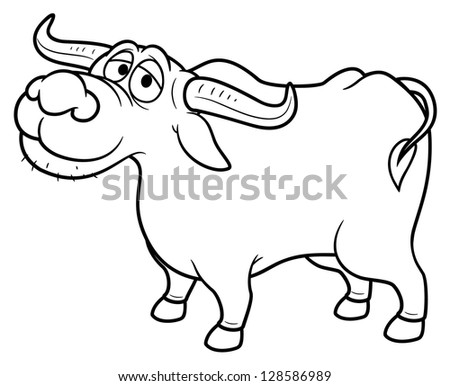 illustration of Cartoon Buffalo - Coloring book