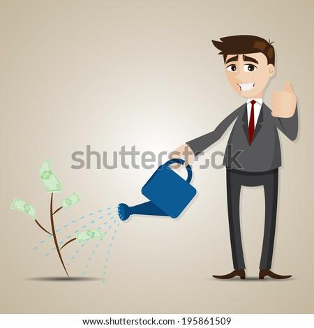 illustration of cartoon businessman plants money tree in investment concept