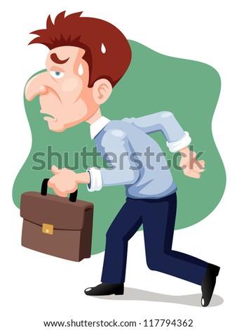 illustration of cartoon businessman tired - stock vector