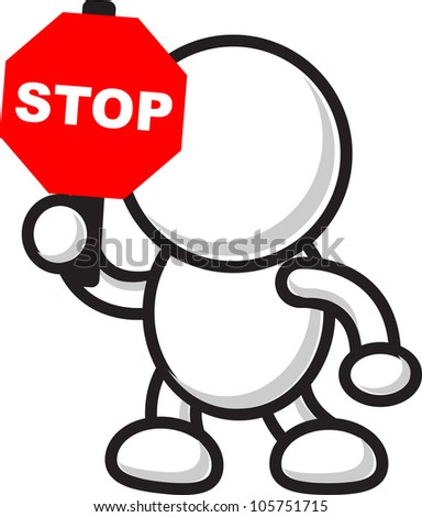 illustration of cartoon character with traffic sign icon