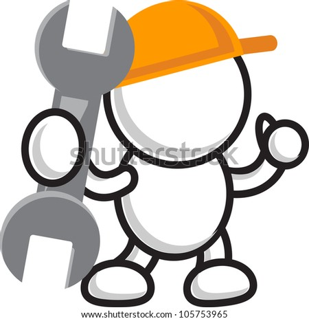 illustration of cartoon character with wrench