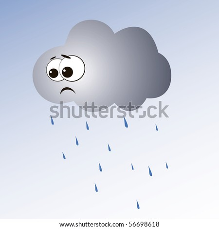 Illustration of cartoon cloud and rain.