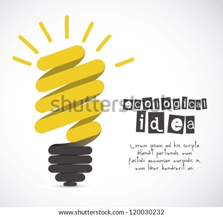 Illustration of cartoon ecological light bulb, idea icon, vector illustration