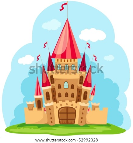 illustration of cartoon fairy tale castle