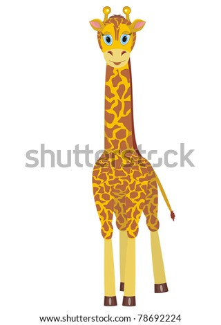 Illustration of cartoon giraffe on white background