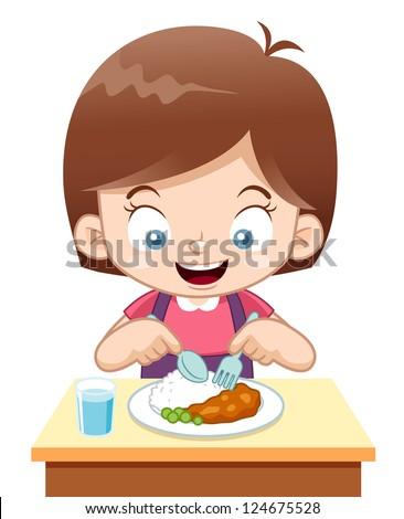 illustration of Cartoon Girl eating
