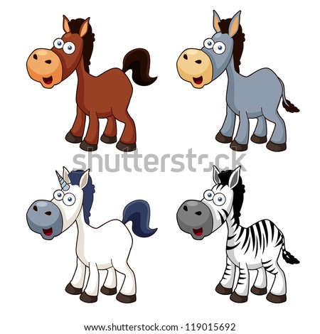 illustration of Cartoon horse set.Vector
