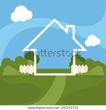 Illustration of cartoon house with garden. Vector