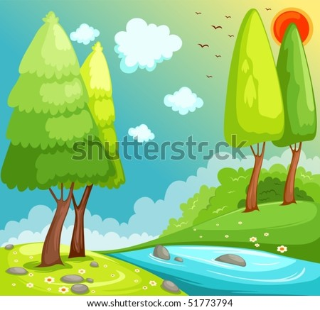 illustration of cartoon landscape countryside