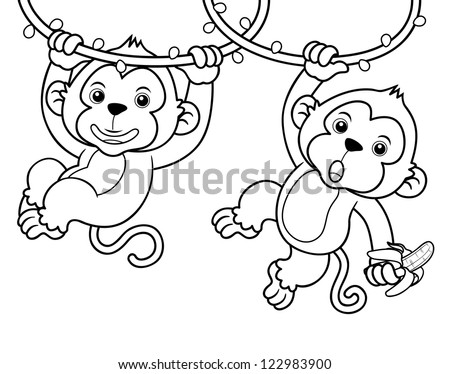 Illustration of Cartoon Monkeys - Coloring book - stock vector