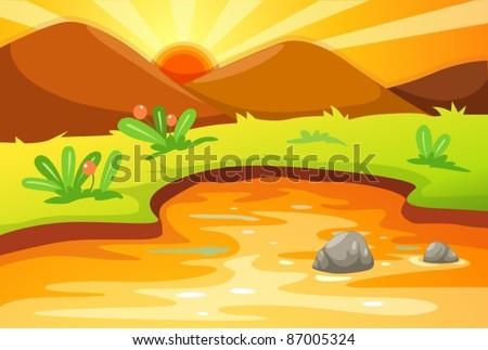 illustration of cartoon mountain and sunset landscape