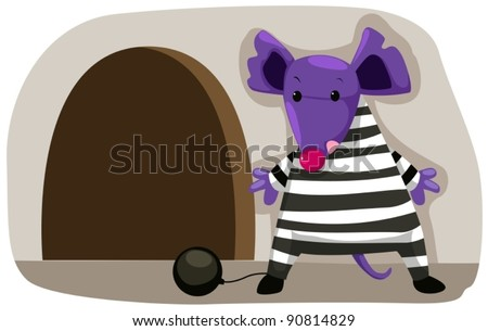illustration of cartoon mouse prisoner