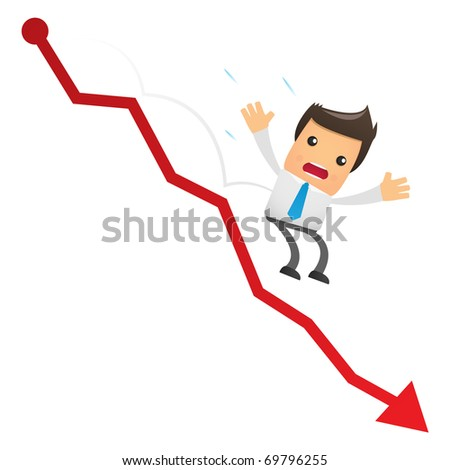 illustration of cartoon office worker falling from the chart