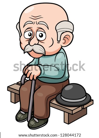 illustration of cartoon old man