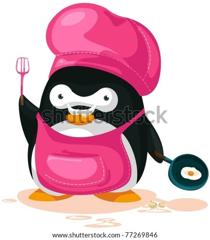 illustration of cartoon penguin cooking on white background
