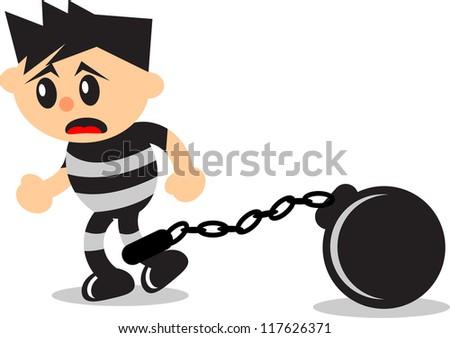 illustration of cartoon prisoner
