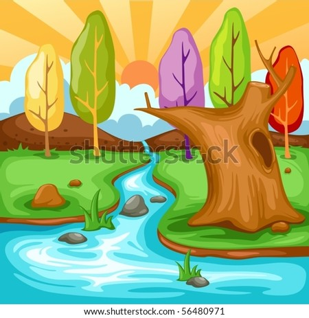illustration of cartoon summer landscape