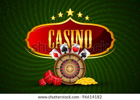 illustration of casino board with roulette and coin