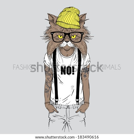 illustration of cat dressed up