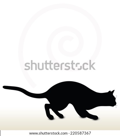 illustration of cat silhouette isolated on white