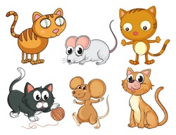 Illustration of cats and mice on a white background