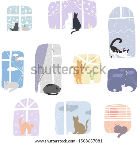 Illustration of cats in window at home in other seasons. Cats are sit on windowsill and looking in the window. Outside the sky, clouds, rain, sun and snow. Colorful vector illustration in flat style.