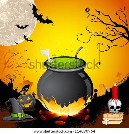 illustration of cauldron with skull in Halloween Night