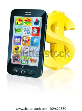 Illustration of cell phone leaning on dollar sign. Concept for financial app, or best phone deals or other finance cell phone related.