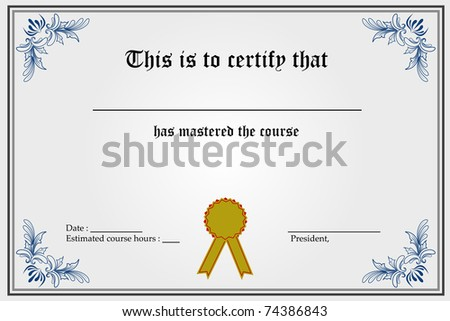 illustration of certificate template with blank spaces