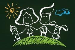 Illustration of chalked happy family on blackboard