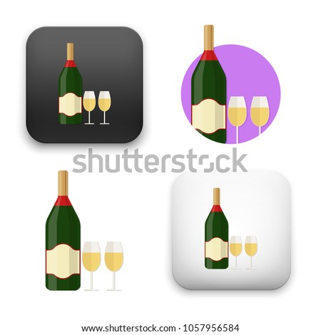 illustration of Champagne bottle with glass icon