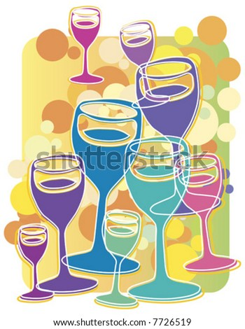 illustration of champagne glasses - concept illustration for celebration, success, new year etc.