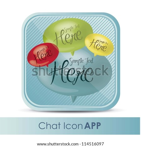 illustration of chat application icon with text balloons, vector illustration