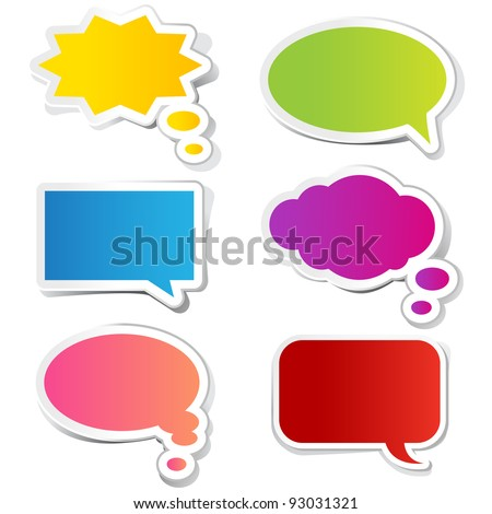 illustration of chat bubble in paper sticker style