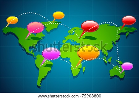 illustration of chat bubble on world map showing global communication