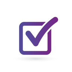 Illustration of check mark icon in square in purple gradient, vector illustration isolated on black background.
