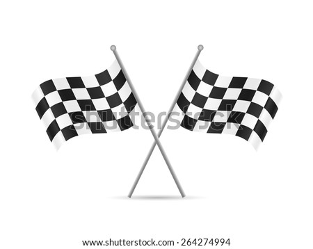 Illustration of checkered flags isolated on a white background.