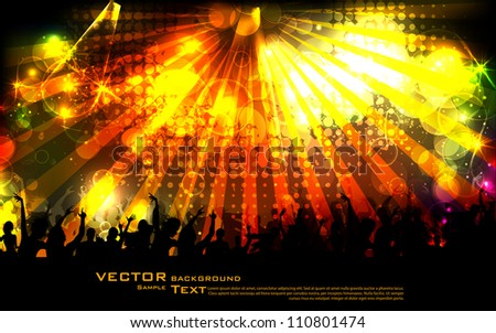 illustration of cheering crowd on sparkling musical background