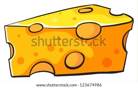 Illustration of cheese on a white background