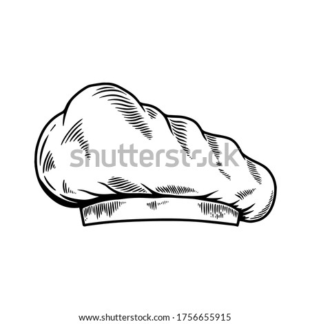 Illustration of chef's hat in engraving style. Design element for logo, label, sign, poster, t shirt. Vector illustration Foto d'archivio ©