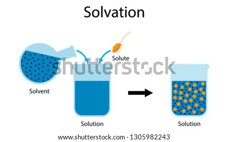illustration of chemistry, The interaction of solvent with dissolved molecules, Solvation diagram