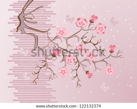 Illustration of cherry blossom on a tree branch and butterflies in pink, brown and white.