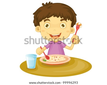 Illustration of child eating at a table