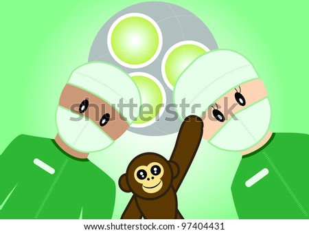 Illustration of child getting surgery. All vector objects and details are isolated and grouped. This illustration is a part of a story about a child in hospital.