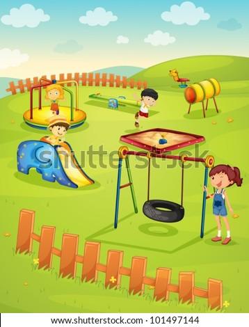 Illustration of children in the playground