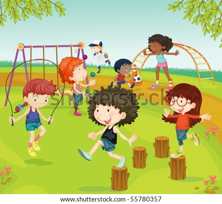 Illustration of Children Playing in Park on colorful background